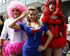 Catherine Tyldesley busty wearing navy uniform at Manchester Pride