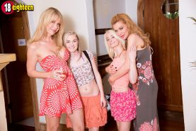 Four lesbians two are young and tender and two are mature and experienced