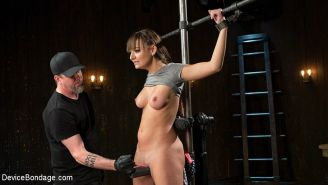 Charlotte Cross busty is cross bound and spanked by maledom The