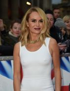 Amanda Holden showing pokies in a tight white dress
