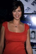 Catherine Bell showing her nice big tits in see thru top paparazzi pictures