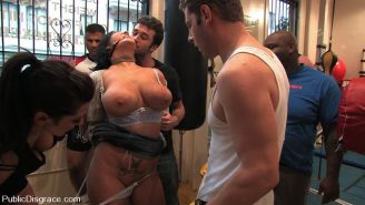 Claire Dames gets tied up and BDSM gangbanged by boxers