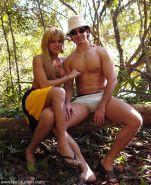transsexual Hilda Brasil with bound male in the jungle for bj