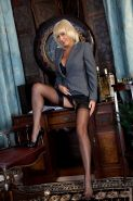 Sexy secretary Jan Burton masturbates in FFS stockings and high
