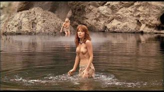 Tanya Roberts exposing her nice huge tits and great ass in water in nude movie s