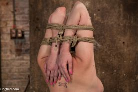 Hot blond bound into modified Category 4 Hogtied. Face fucked, nearly fisted, ma