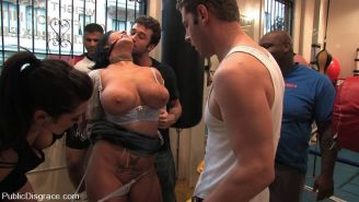 Busty Claire Dames bondaged and fucked hard in orgy