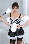 Mature british stunner lady sonia dressed as french maid