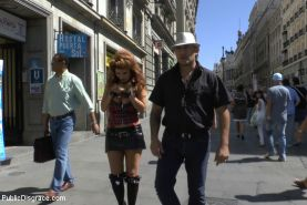 Euro trash street whore, Hanna Montada, with hands bound to her own collar, is h