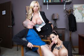 Office girls Nikki Benz and Amy Anderssen done twin blowjob