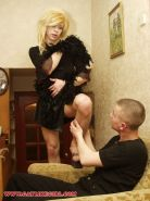 Fucking a crossdressed man slut in a blonde wig