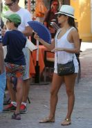 Eva Longoria seethru to bra and leggy while shopping in Marbella