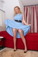Curvy milf in her blue dress white lingerie and tan stockings