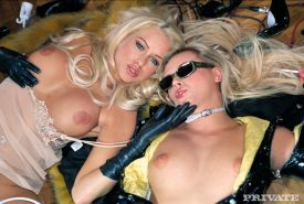 Blonde pornstars Ellen Saint and Stacy Silver assfucked together