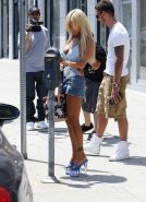 Busty Shauna Sand in lace top  denim mini skirt wandering the LA with her new bo