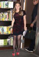 Hilary Duff leggy in polka dot pantyhose promoting her latest book 'Devoted' at