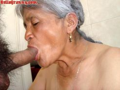 Old granny and cum in her face