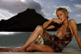 Sharon Stone smoking hot and sexy nude topless on the beach