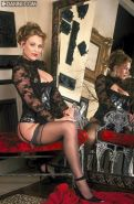 Busty Diane Kellar in sexy black stockings and lingerie
