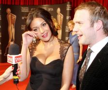 Michelle Keegan showing huge cleavage at the 'Irish Film  Television Awards' in