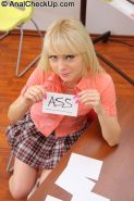 Blonde teen Virginee Spice passes anal exam in classroom