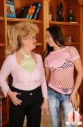 Curly blonde granny fucking with toy teen slut