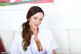 Doctor Ariella Ferrera jerks her patients boner until it explodes