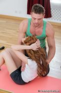 thin and flexible teen redhead fucking her instructor in a gym