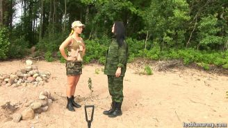 Female sergeant torturing a naked army chick