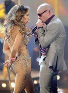 Jennifer Lopez in see-through outfit performing at the American Music Awards in