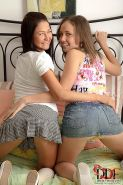 Ilina and Laura amateur lesbian teen tarts anal toying in bed