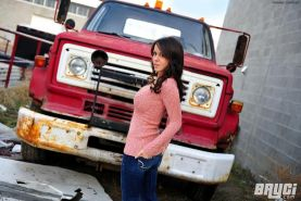 Bryci beautiful brunette stripping off by an old truck