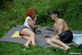 Teen babes sharing lucky cock outdoors in ffm fuck