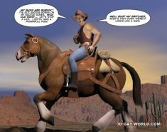 Gay cowboys adventures horsey style rare 3D gay comics