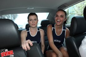 Amateur teen track team lesbian GFs kiss and lick pussies in car