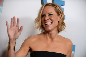 Maria Bello stunning in a tight black strapless outfit at JoyROCKS launch of the