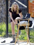 Helena Mattsson upskirt while changing her shoes on the set of 'Seven Psychopath