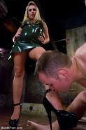 Harmony Rose mistress dominates with cbt her bound male slave