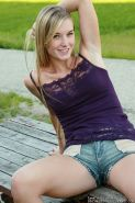 Adorable blonde teen with long hair outdoor nudity