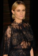 Diane Kruger wearing a see through dress at the Vanity Fair Oscar Party in Holly