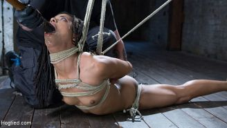 Kira Noir ebony is bound in rope and toyed to orgasm by maledom