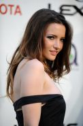 Talulah Riley downblouse showing her big boobs braless in short black dress at E