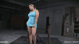 Angel Allwood blonde her big tits rope bound and mouth fucked by