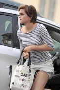 Emma Watson upskirt while leaving a car in New York City