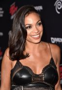Rosario Dawson shows pokies wearing a tight leather  lace dress at Sin City A Da