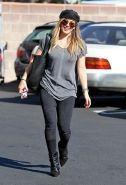 Hilary Duff showing hard pokies in a gray top and tight jeans out in Santa Monic