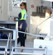 Busty Mariah Carey wearing bikini top and wet suit for a boat ride in Perth