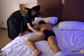 Evil Witch TS Mariana Cordoba leaves her sticky mark on a sleeping guy