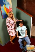 blonde mature riding a big black cock in front of her son