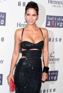 Halle Berry huge cleaveage in tight dress and tits exposed